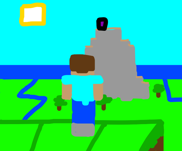 Minecraft Steve with a Serene Background