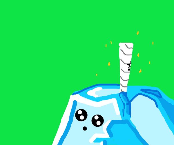 unicorn's horn stuck in ice