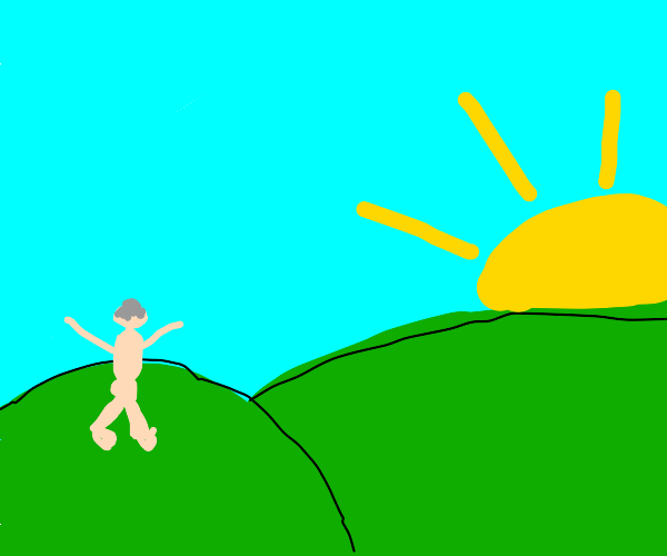 Naked man runs to the sunset