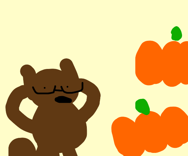 nerdy squirell found pumpkins