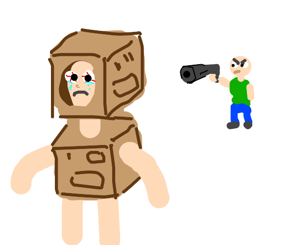 Man forces person into cardboard robotCostume