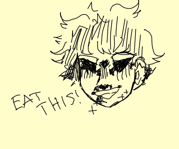 Midoriya making All Might's face