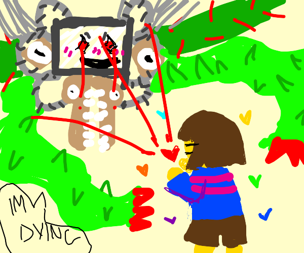 Frisk about to destroy Omega Flowey