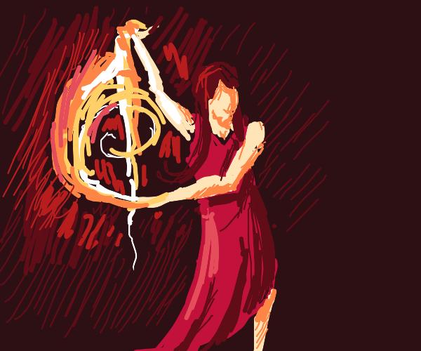 Awesome pyrokinetic woman