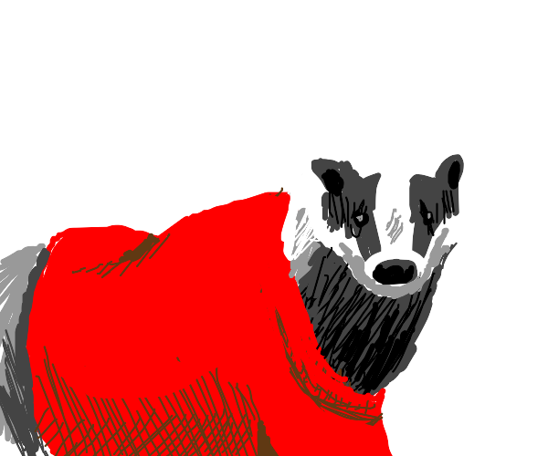 badger in red shirt