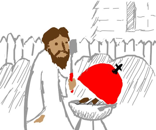 Jesus making a BBQ