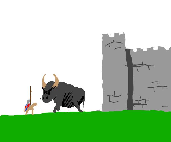 massive bull, guardian of a castle