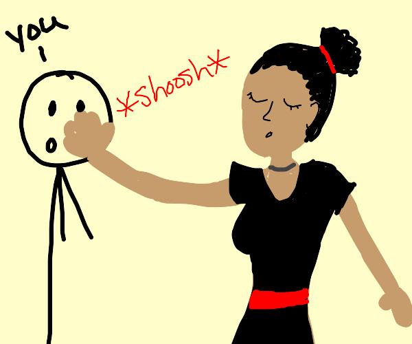 cute black girl is shooshing you