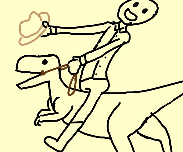 Man riding a dinosaur