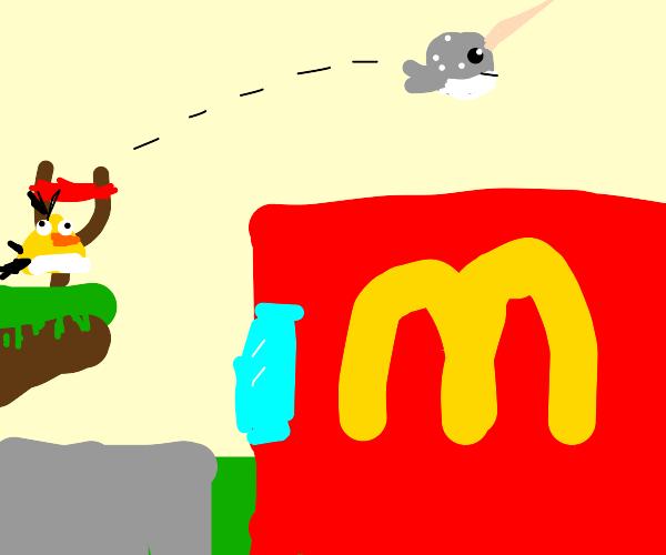Angry bird narwahl flies over McDonalds