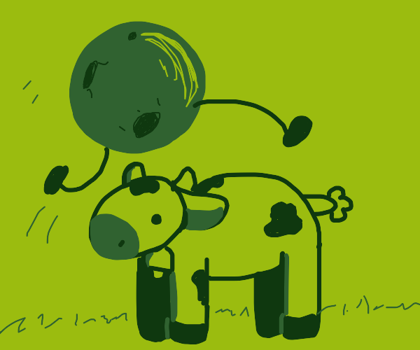 A moon jumping over a cow