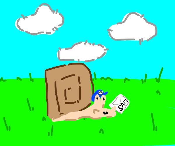 a snail delivering a postcard for Sam
