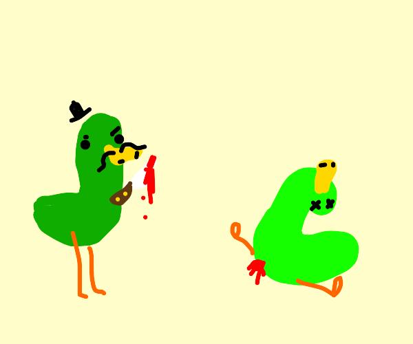 Duck murders other duck.