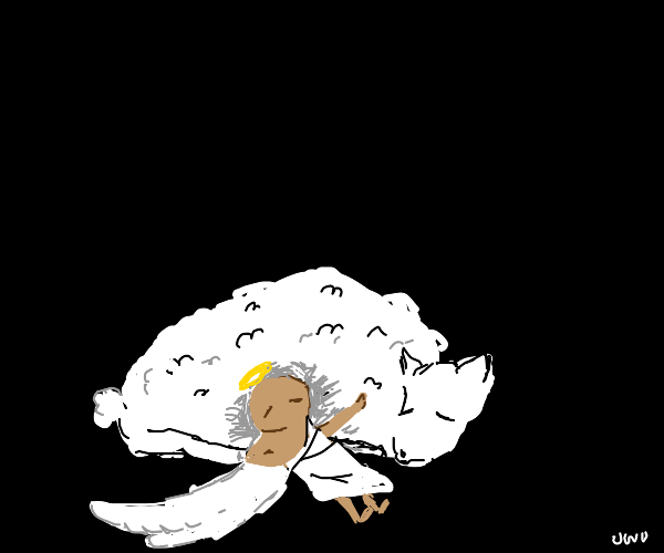 Angel baby with a sheep
