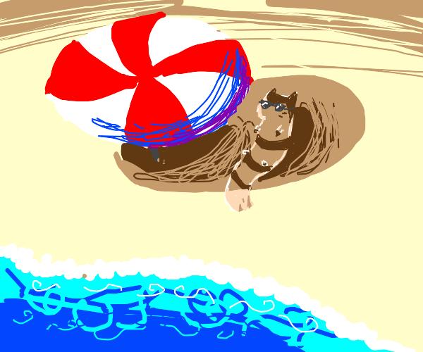 Furret at beach