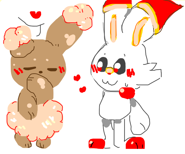 Buneary and Scorbunny love each other