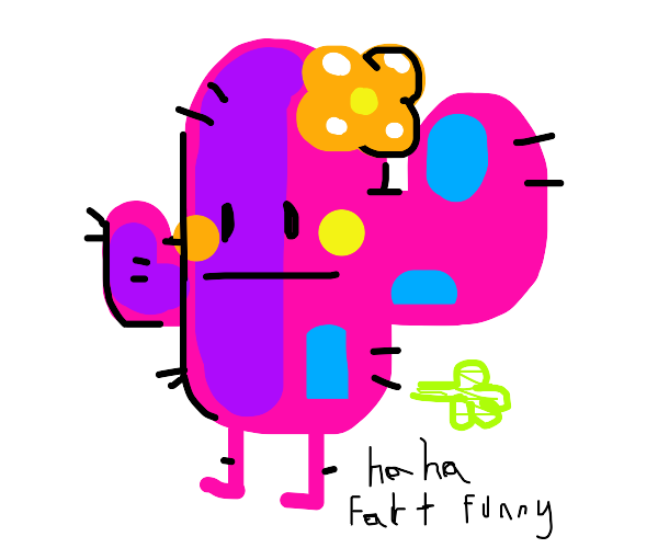 pink cactus man farts