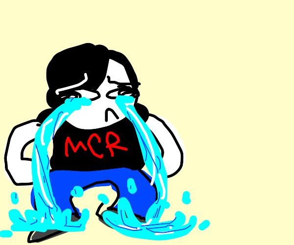 An emo wearing MCR shirt