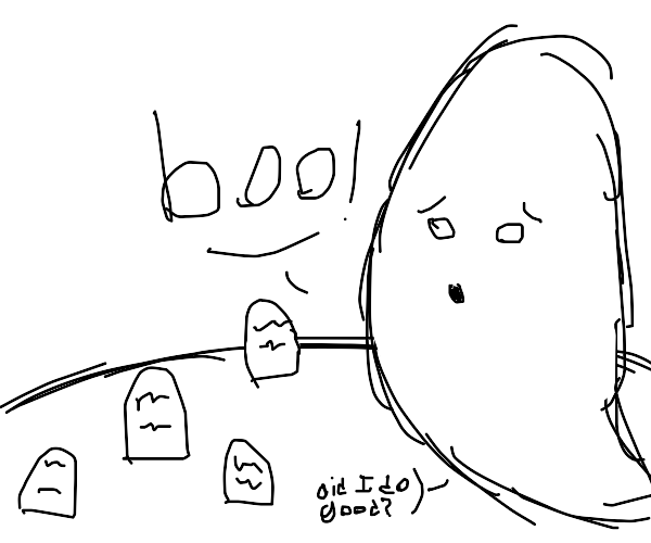 "Ghost saying ""Boo!"" in night graveyard scene"