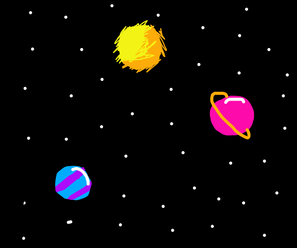 neon planets in space