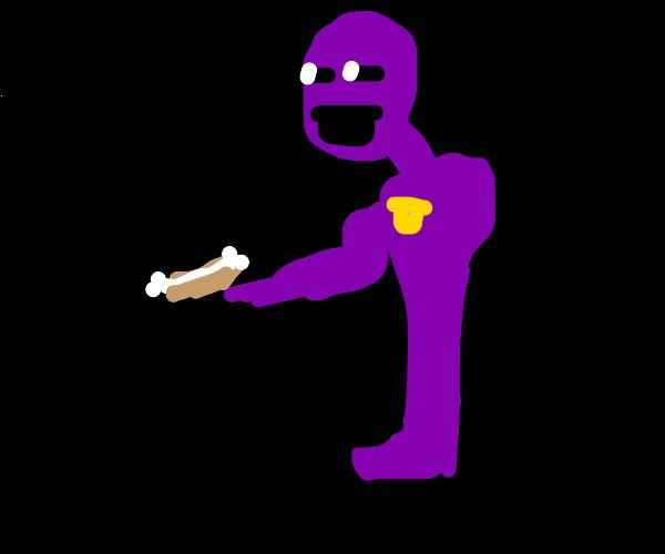 purple guy with bone hotdog