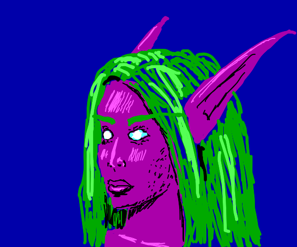 Pink elf with green hair