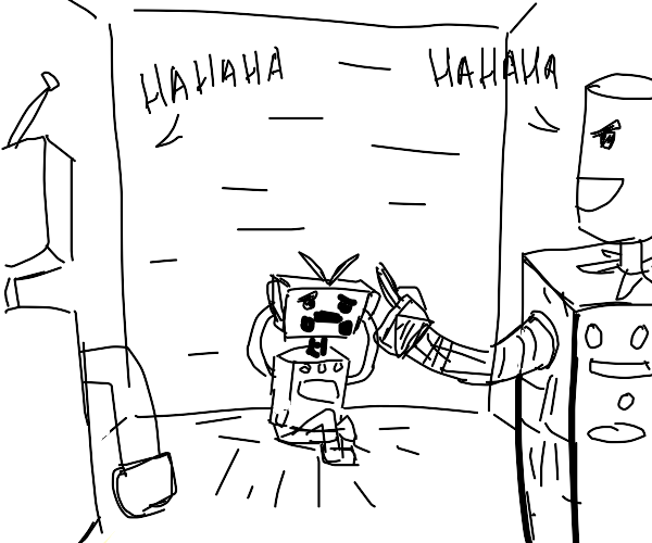 A small robot getting mocked.