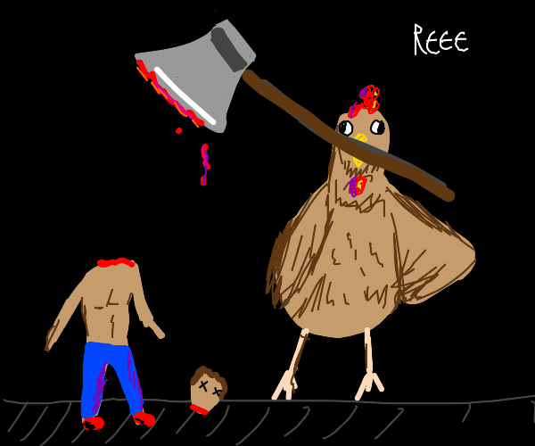 Chicken decapitating man with an axe