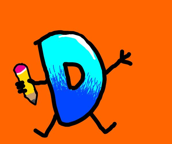 Drawception D on orange background