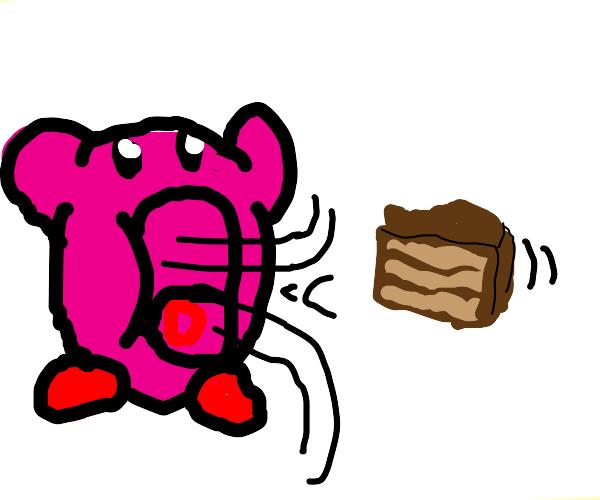 Kirby sucking cake