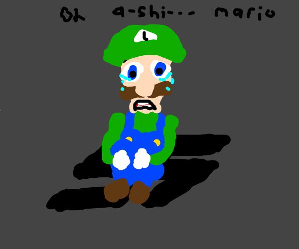 Luigi sitting on a swastika