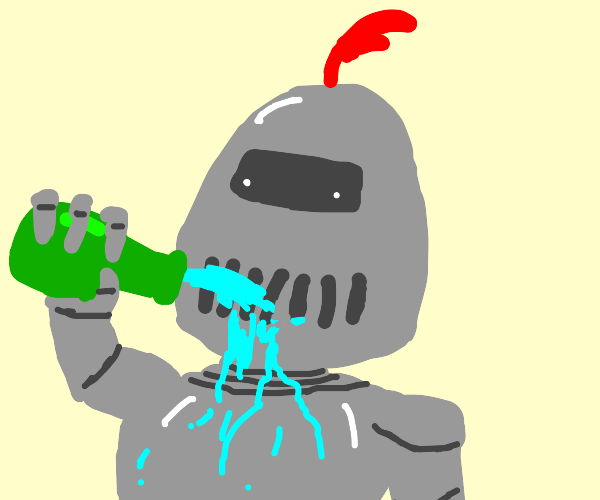 knight drinks from the bottle