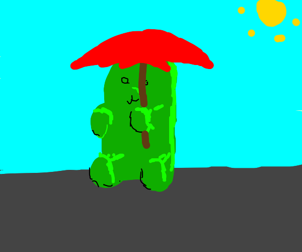 Gummy bear with umbrella but it's not raining