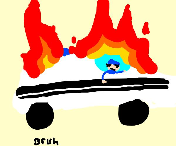 police car burning
