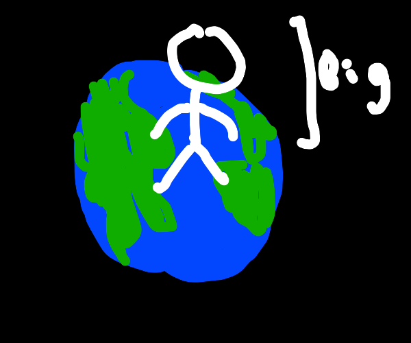 Big person stands on earth