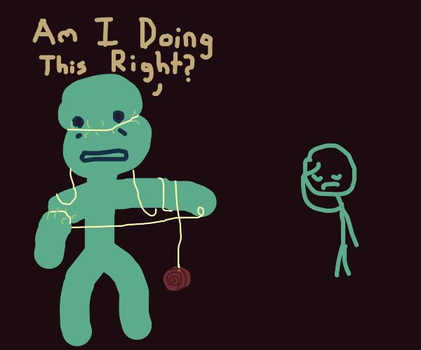 a blue guy uses a yo-yo wrong