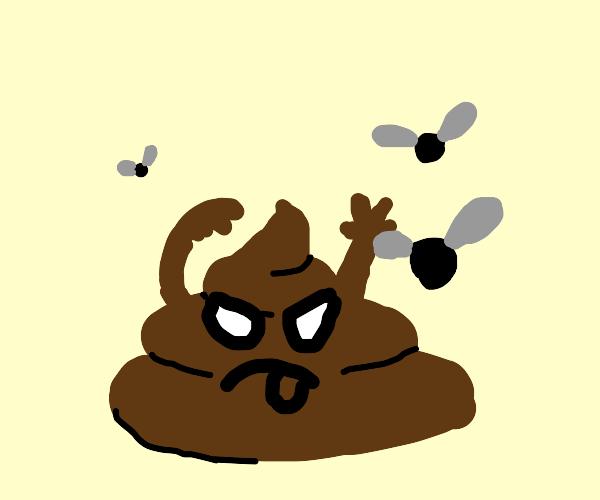 Poop pile fending off three flies