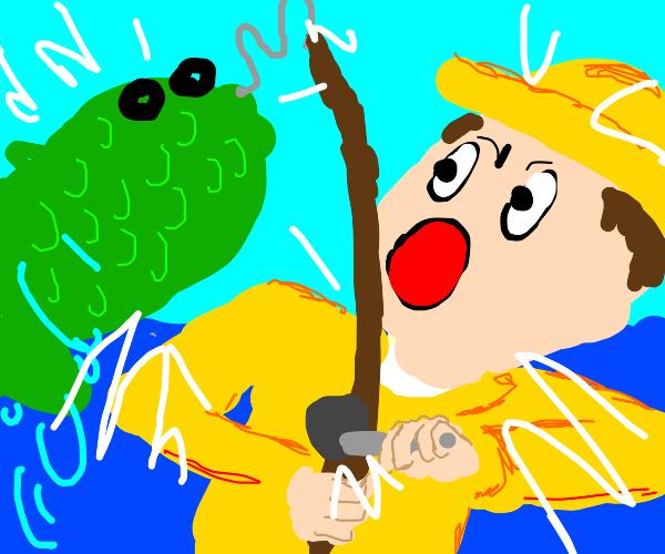 Fisherman hooks a huge green fish