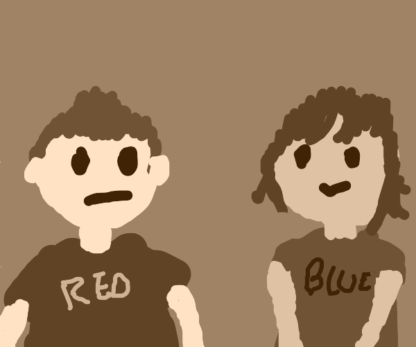 a girl in a blue shirt and a guy in a red one