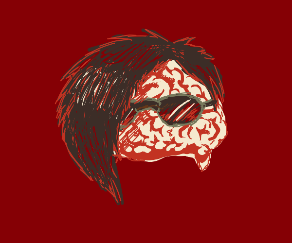 Brain with Emo Hair and sunglasses