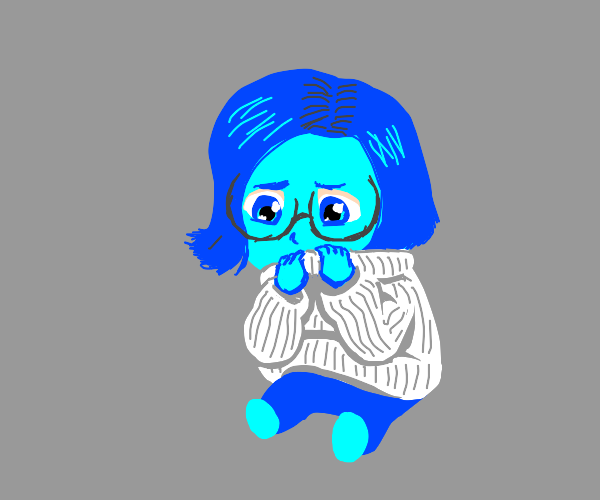 Shy blue girl in swearer and glasses