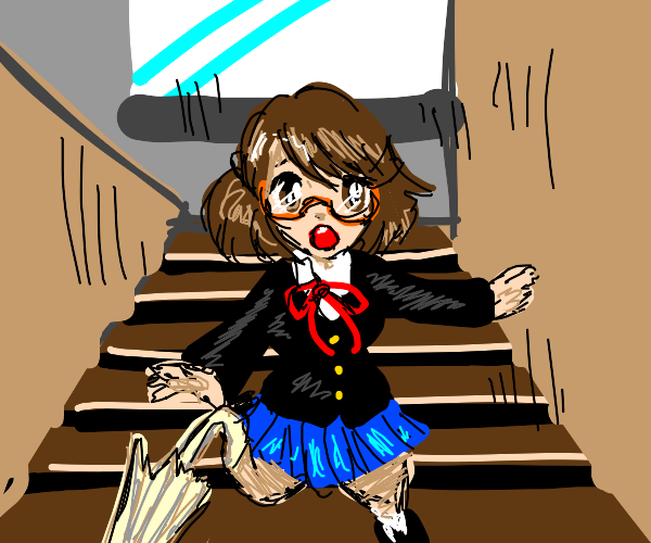 Girl falling down the stairs!