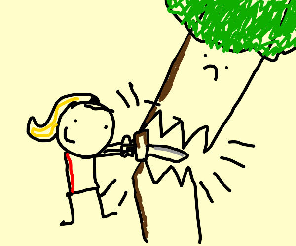 Woman smashing a tree with a sword