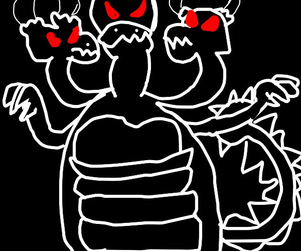 three dragon heads
