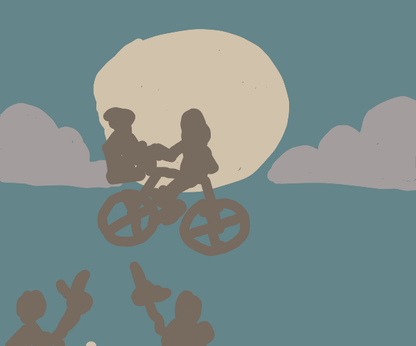 Two shadows pointing at ET flying bike scene