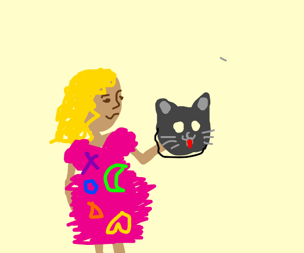 Lady in odd dress holding cat mask