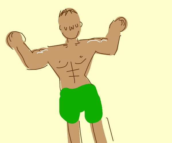 Topless buff guy