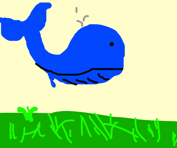 flying whales over a grassy landscape