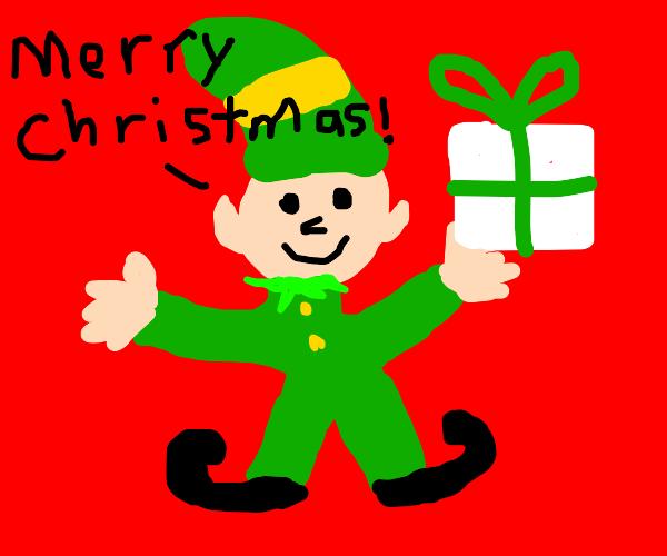 Happy Christmas elf on red