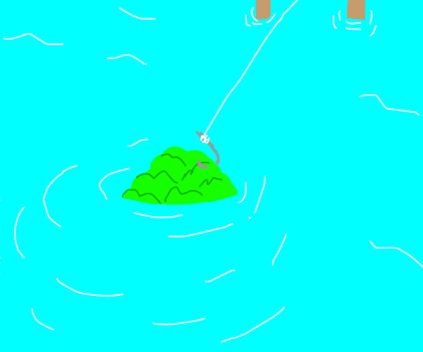 reeling in a cabbage when fishing